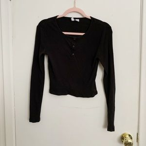Black button up ribbed long sleeve crop top
